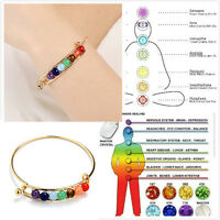 7 Chakra Healing Balance Beads Bracelet Yoga Life Energy Bracelet Women Jewelry~