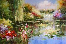 Claude Monet Garden at Giverny Repro 26, Hand Painted Oil Painting 24x36in