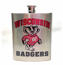 University of Wisconsin _ Badgers  7 ounce Stainless Steel Flask