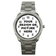 PERSONALIZED Custom Your LOGO Design PHOTO Text Sport Metal WATCH FREE Shipping