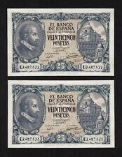 F.C. PAREJA CORRELATIVA 25 PESETAS 1940 , SERIE D , EBC+ .