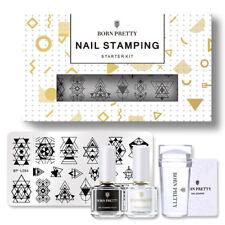 BORN PRETTY Nail Stamping Kit Black White Nail Stamping Polish Nail Stamp Plate