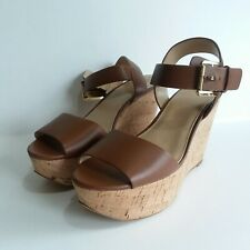 MICHAEL KORS Xaria Wedge Sandal Shoe Women's Size 7.5 Tan Leather Cork Look