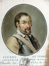 Gravure couleur Aquatinte PORTRAIT PIERRE TERRAIL Chevalier Bayard SERGENT 1788