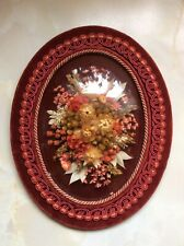 Vintage Retro Kitsch Oval Glass Domed Dried Flowers Wall Plaque 1960s 1970s