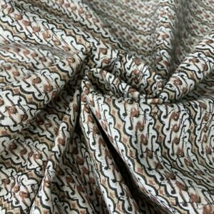 100% Cotton Fabric Javanese Batik Style Waves Abstract 140cm Wide