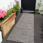 Plain Graphite Grey Outdoor Rug Plastic Flat Washable Rugs Zero Pile Hall Runner