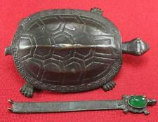 Collectibles Chinese old brass Carved turtle shape lock and Keys inlay jade bead