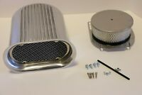 Polished Hilborn Style Finned Aluminum Hood Scoop Kit Air Cleaner 4 Barrel Carb