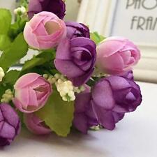 Purple Artificial Rose Fake Flower Leaf Home Decor Bridal Bouquet Wedding Party