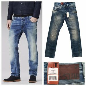 G-STAR Attack Straight Jeans Light Aged Restored Distressed Size 29W 32L NEW
