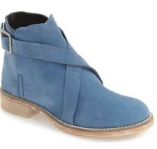 Free People Laspalmas Light Blue Leather Ankle Boots Booties Buckles Womens 8