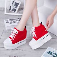 Women's Canvas Platform Shoes Sneakers Hidden Wedge High Heel Lace-up Creepers