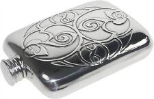 Celtic spirals 4oz Pewter Hip Flask. British Made by Wentworth of sheffield