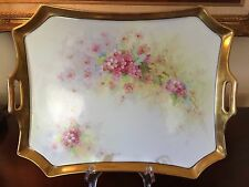 """BAVARIA HAND PAINTED FLORAL 13"""" PORCELAIN TRAY"""
