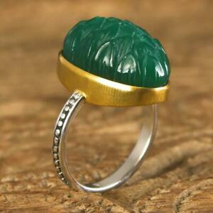 Ring US size 10 Gold Vermeil Sterling Carved Green Chalcedony Lotus Flower 8.65g