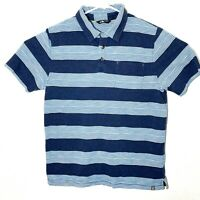 The North Face Mens Size Large Blue Short Sleeve Striped Collar Polo Shirt Top