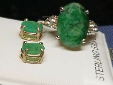 Sterling Silver & Emerald Bracelet Earrings & Ring Jewelry Set Limited Sale