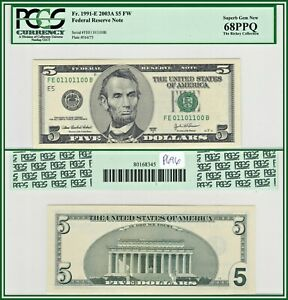2003A True Binary Fancy $5 Richmond FRN Bank Note PCGS 68 PPQ Superb Gem Unc New