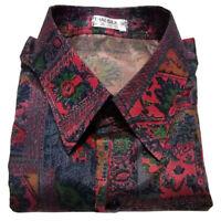 Mens Thai Silk Shirt Burgundy Mix Pattern Short Sleeve Hawaiian S M L XL 2XL 3XL