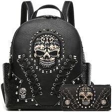 Sugar Skull Punk Rivet Stud Biker Purse Women Daypack Fashion Backpack / Wallet