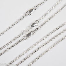 3 pcs Sterling SILVER 2mm ROPE CHAIN Necklaces Lot 18""
