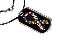 Autism Awareness - Military Dog Tag Black Satin Cord Necklace