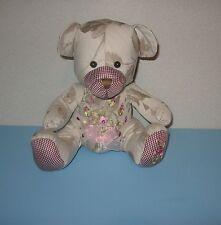 "10"" Pink Bow Belly Button Grey Fabric Stuffed Plush Teddy Bear Plush w/ Roses"
