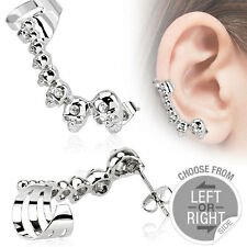 1 Pc Right Side Ear Cuff W/ Mini Skull C.Z. Earring 20g Surgical Steel Threading