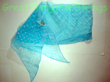 NEW Sheer Aqua Polkadot Summer Scarf Scarve Wrap Long Made in Japan Head Neck