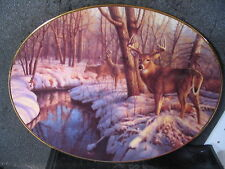 Bradford 1994 Woodland Tranquility Winter'S Calm Deer Ltd Ed Oval Plate
