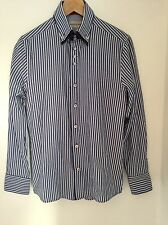 River Island Shirt Size Small Blue White Stripe Red Trim.