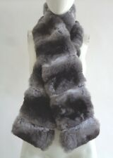 """BRAND NEW RANCHED CHINCHILLA DOUBLE SIDED FUR SCARF WRAP WOMEN WOMAN 54"""" X4.5"""""""