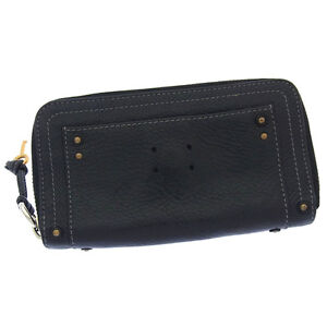 Chloe Wallet Purse Long Wallet Black Gold Woman Authentic Used Y2664