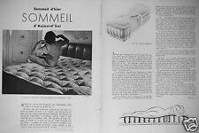 PUBLICITÉ 1947 TRÉCA COUPE MATELAS TRECARITZ AMBIANCE CHAMBRE J.LELEU