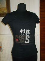 Tee shirt manches courtes coton noir LE TEMPS DES CERISES S 36/38 imprimé logo