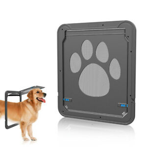 Magnetic Automatic Lock/Lockable Cat Dog Flap Safe Screen Door Gate Anti-bite
