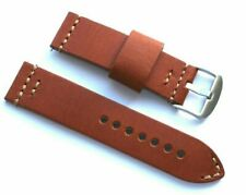 24mm Premium BROWN Leather Watch Band Cowboy Rouille Stainles Silver Buckle