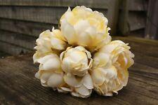 5 x LEMON / PALE YELLOW SILK PEONY FLOWERS & BUDS TIED BUNCH SMALL BOUQUET