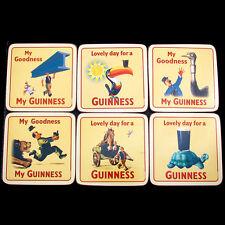 Genuine Guinness Coaster Set Vintage Advertising Cork backed Wipeable 6 designs