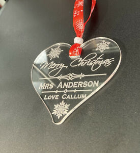 personalised Teacher Christmas Tree Heart Bauble Gift Decoration Xmas Star