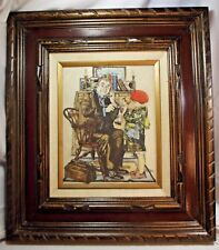 Vtg Norman Rockwell The Doctor & the Doll Marvetti Cultured Marble Etching Rare