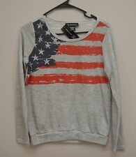INC International Concepts Gray Scoop French Terry Long Sleeve flag sweater NEW
