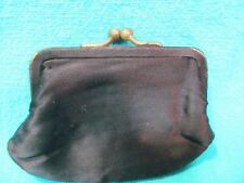 "Vintage 4"" Black Satin Change Purse"