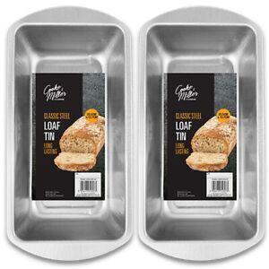 2x DEEP RECTANGLE BAKING TINS Oven Tray Mould Bake Loaf Cake Bread Meatloaf UK