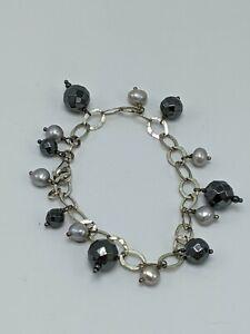 "Sterling Silver 925 Hematite & Pearl Charm Bracelet 7"""