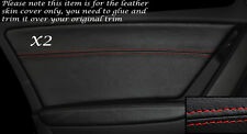 RED STITCH 2X REAR DOOR CARD LEATHER SKIN COVERS FITS AUDI A4 B8 2007-2013