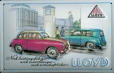 Blechschild Lloyd Auto Nostalgieschild Schild Oldtimer Reklmaeschild Autoschild