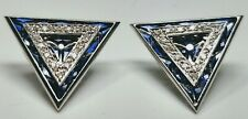Elegant 14K White Gold With Diamond and Sapphire Triangle French Clip Earrings