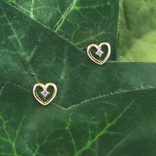 E1105 Solid 9ct 375 Yellow Gold Heart Shape Cubic Zirconia CZ Set Stud Earrings